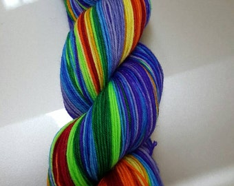 "Saturated Sock Selfstriping  12 color Reverse Rainbow ""Gradient"""