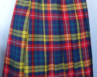 100% Wool Kilt Plaid Tartan New US 14 Large Red Yellow L Made in Canada Fine Quality wool Canadian New Deadstock Vtg