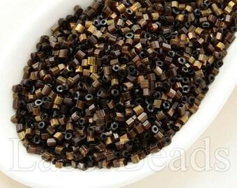 20g Brown silk hexagonal beads 1.5mm Czech hex seed beads Olive brown seed beads Silk seed beads FF10 Brown seed beads