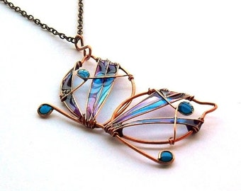 Copper butterfly long necklace, purple turquoise resin jewelry, resin pendant, wire butterfly, nature jewelry