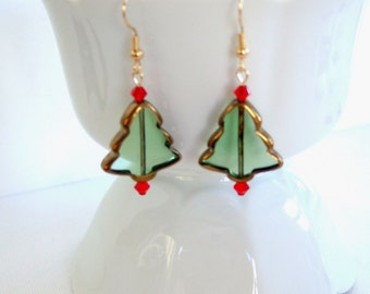 Christmas Tree Earrings Red Earrings Swarovski Crystals Handmade Green & Gold Glass Jewelry Christmas Gifts for Her Cool Earrings
