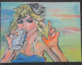 Sweet Dee With Her PBR Painting by Charlie McComber