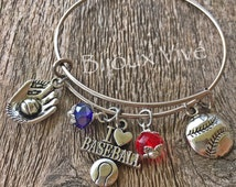Baseball Charm Bracelet ~ Baseball Mom Jewelry ~ Baseball Bangle ~ Ball Mom Jewelry ~ Customized Baseball Mom Bracelet