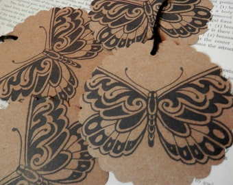 "BUTTERFLY TAGS Set/4 LARGE 3"" Scalloped Circle Kraft Cardstock Handstamped Gift Tag Hang Tag Price Tag"