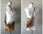 Tan Slouchy Leather Bag Vintage 80s Crossbody Hobo Style Handbag Brown Hippie Boho Shoulder Bags 1980s Hipster Purses 2 Compartments Pockets