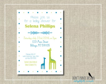 Printable Baby Shower Invitation - Adorable Giraffes in Blue & Green - 5x7 invitation - Custom Color