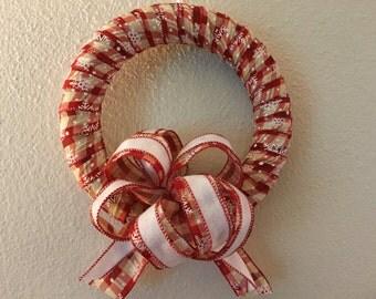10 inch wreath, Christmas ribbon wreath, red snowflake ribbon wreath, ribbon wrapped wreath,  READY TO SHIP