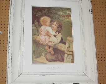 Fred Morgan Print Shall I Carry You set in Shabby Frame with Glass