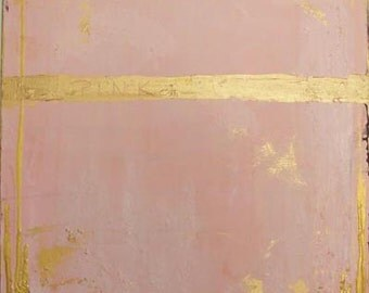 Fine Art Painting Pink Metallic Gold Abstract Painting Pink Abstract Art Original Painting Contemporary California by Cheryl Wasilow