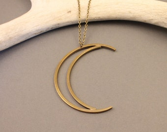 Sky Child brass crescent moon necklace- long- gold tone minimal, modern, boho crescent moon necklace