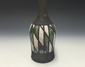 Small Raku Vase - Argyle - Handmade Pottery - Home Decor