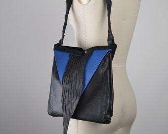 Geometric Leather Bag - Shoulder Leather Bag - Royal Leather Bag - Leather Bag Purse - Leather Shoulder Bag