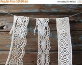 SALE Trio Vintage White Boho Wedding Trim Lace