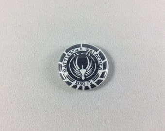 Battlestar Galactica Pinback Button - One Inch, Science Fiction, Cult Classic