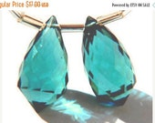 20%off. Matched Pair AAA Teal green Quartz Faceted Fancy Briolette Size 10x20mm Approx.