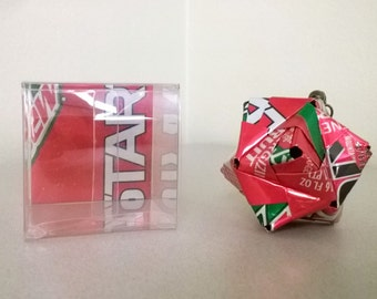 Kickstart Fruit Punch Christmas Ornament // Origami //  Upcycled Recycled Repurposed Art // Easter Gifts // weird gifts