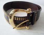 Vintage Leather Strap Belt Brown With Studs Gold Unisex