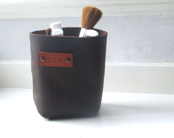 Leather storage bin, basket, pencil holder, organizer for him for her handmade in UK