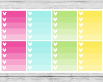 Sweet Summer Full Ombre Heart Checklist Planner Stickers