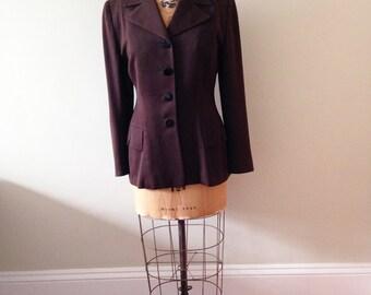 1940's Vintage Jacket / Brown Garbadine 40's Jacket