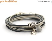 CiJ ON SALE Black Druzy Bracelet, Silver Gray Black Boho Bracelet, Yin Yang Yoga Bracelet, Bohemian Jewelry, Women Bracelet, gift for her