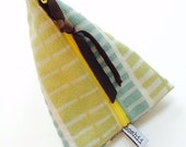 SUN BAG  Yellow Turquoise Patterned Triangle Pouch, miniclutch, stash bag, cosmetic bag, canary yellow zipper, lined, remnant fabri