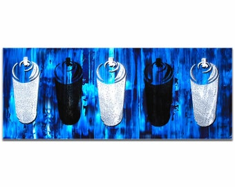Mendo Vasilevski 'Graffiti Homage in Blue' - Contemporary Urban Wall Art, Graffiti Painting Artwork, Modern Giclée Decor