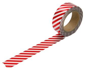 Red Foil Diagonal Stripe Washi Tape, 15mm x 10m
