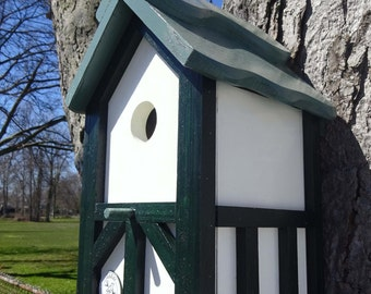 Tudor birdhouse, Nesting Box ,Old English bird house, birdhouse with cleanout, tree mount, post mount, Teal roof ,Made in USA