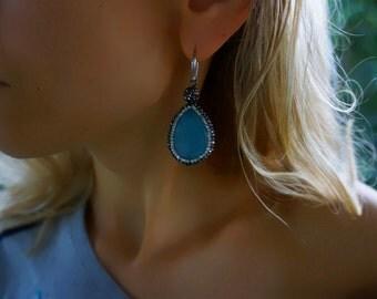 Ishtar - Stunning Elegant Agate Drop Statement Earrings