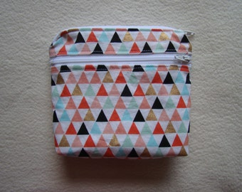 """Made To Order: Simple XSmall wet/dry bag, 6""""X5"""", triangle print."""