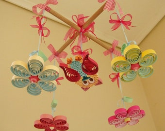 baby mobile owl quiling owl baby quilling paper mobile crib mobile