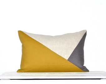 Side Envelope Modern Colorblock Pillow Cover - Mustard/ Grey Combo
