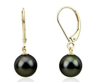 9.0-10.0 mm High Luster Perfect Round Tahitian Cultured Pearl  Lever-back Earrings-02