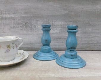 Pair of Ocean Blue Painted Decorative Candlesticks