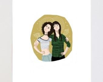Abbi + Illana Portrait Illustration Art Print
