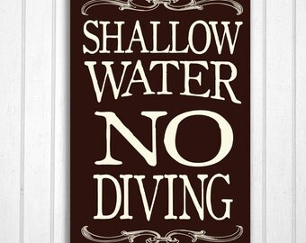 Shallow Water No Diving No Jumping Outdoor Wood Sign