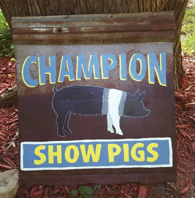 Antique Rusty Metal Show Pigs Sign By Zietlowscustomsigns