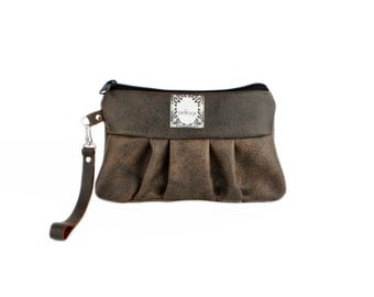 "Brown Leather Clutch, Wristlet, Convertible Wallet, Birdbags ""Kelly Wren"" Handbag"