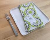 set of 4  reversible cotton napkins, citron, gray, green, yellow, kitchen gift, housewarming, hostess gift