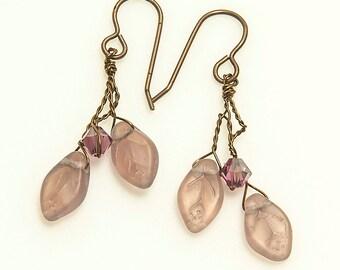 Purple Amethyst Dangle Earrings,  Purple Twig Earrings, Gift for Her under 25.00, Amethyst Leaf Earrings, Nature Jewelry, Winter Jewelry