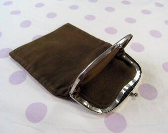 Vintage Corduroy Purse, Retro 1960s 1970s Dark Brown Cord Clutch, Brown Handbag Purse, Brown Cord Pouch