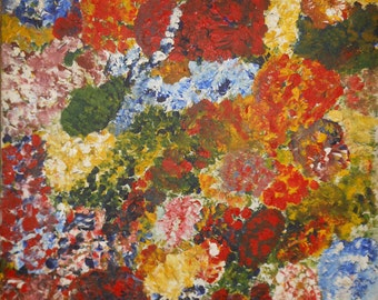 Vintage oil painting abstract of colorful flowers