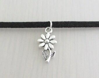 Silver Daisy Flower Charm Black Faux Suede Choker Necklace, 3mm Width Black Faux Suede Choker Necklace, Daisy Charm Necklace, Flower Choker