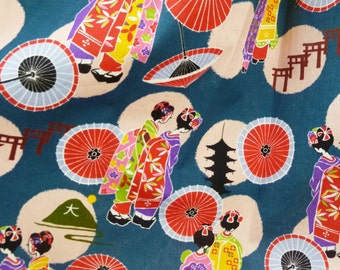 Japanese geisha fabric cotton fat quarter, japanese yukata kimono kawaii fabric, japanese geisha fabric