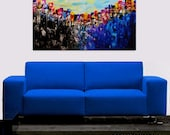 Acrylic Painting on Canvas Mountain city palette knife Contemporary colors