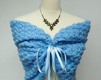 Something Blue Wedding Lace Shrug, Crochet Shrugs Boleros, Lace Blue Bolero Jacket, Bridal Cover  Up, Bridesmaid Bolero Shrug, Prom Shrug