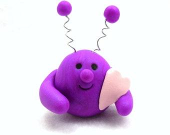 Purple Love Monster Martian Alien, Handmade Polymer Clay Miniature Sculpture, Valentine's Day Gift