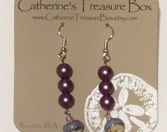 Handmade Art Glass Bead and Mauve Glass Pearl Dangle Earrings on Silver Plate French Hook Ear Wires