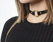 JAKIMAC O-Ring Choker Necklace / Genuine Leather Silver or Gold White or Black Ring Choker